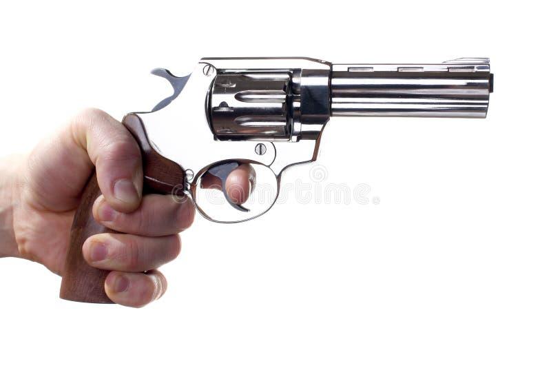 Revolver die op wit wordt geïsoleerd? stock fotografie