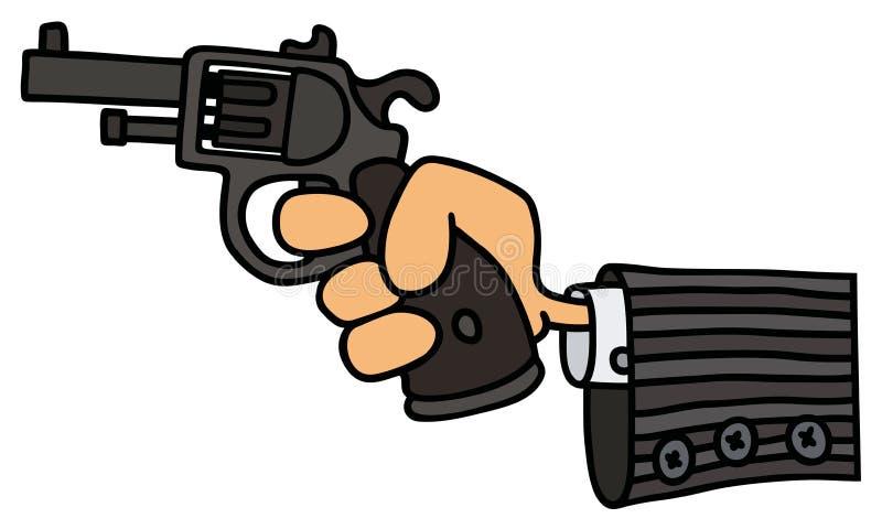 Revolver drôle en main illustration libre de droits