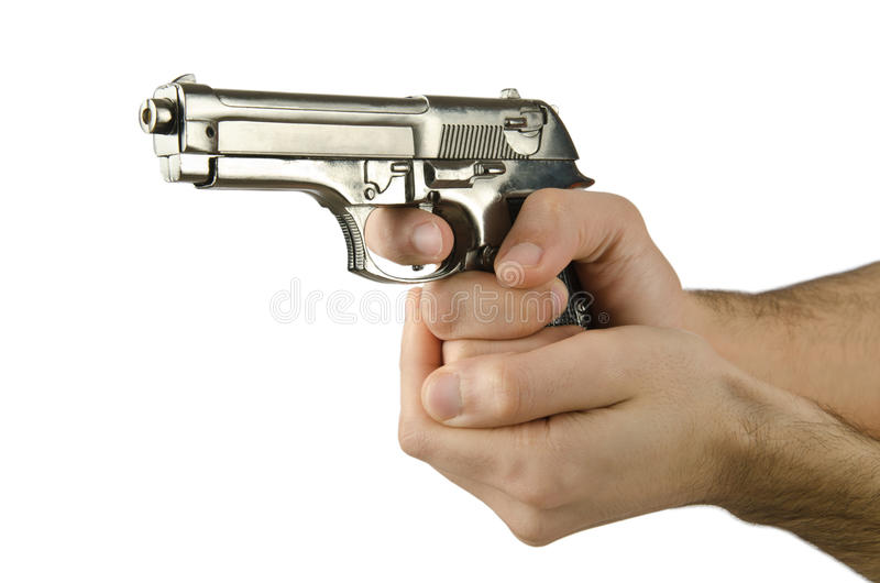 Revolver en main image stock