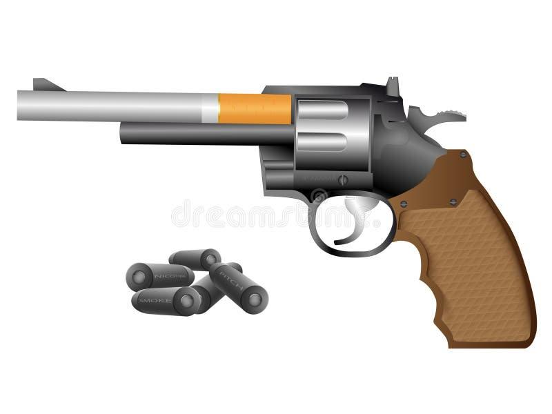 Revolver et cigarette illustration libre de droits