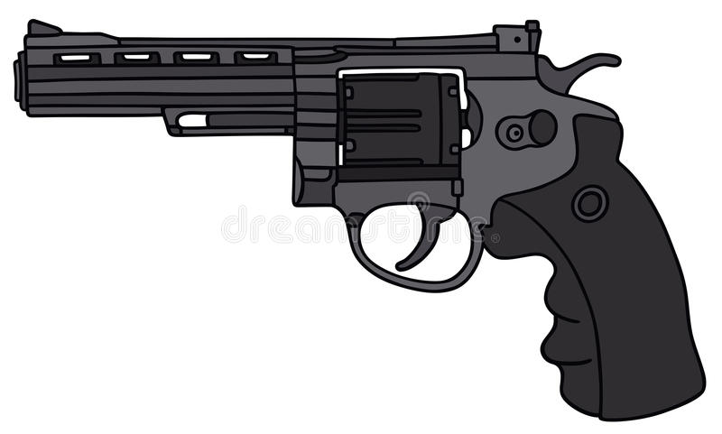 Revolver. Hand drawing of a big modern revolver stock illustration