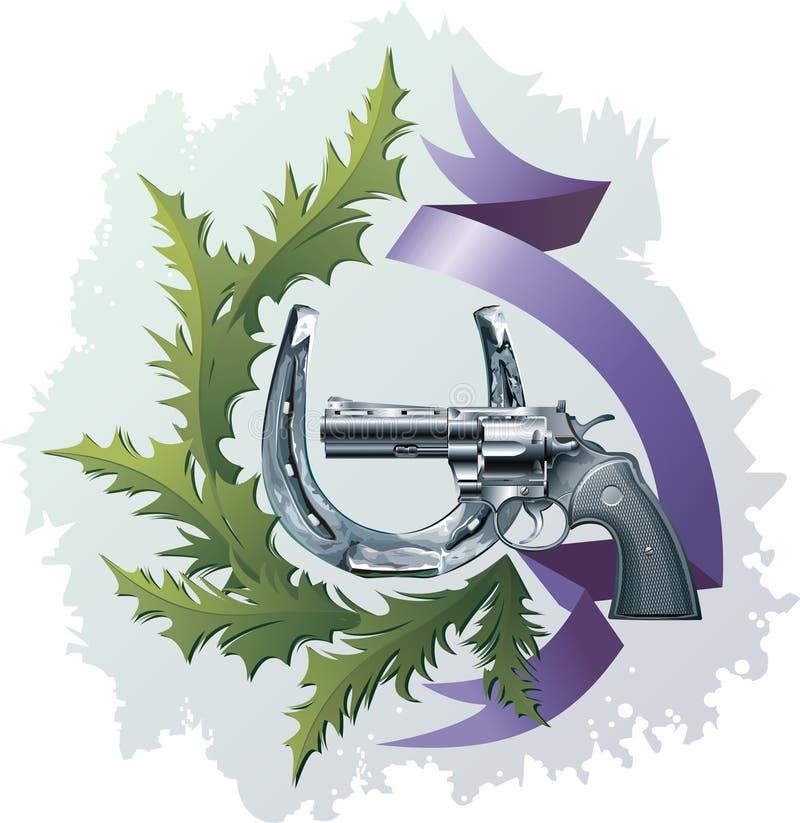 Download Revolver and horseshoe. stock vector. Illustration of barrel - 10890218