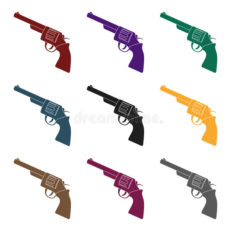 Revolver icon in black style isolated on white background. Rodeo symbol stock vector illustration. Revolver icon in black design isolated on white background royalty free illustration