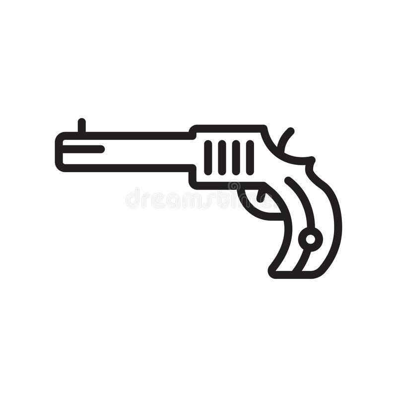 Revolver icon vector sign and symbol isolated on white background, Revolver logo concept, outline symbol, linear sign stock illustration
