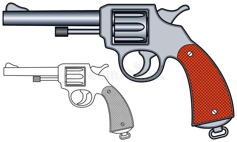 Revolver. Illustration of the revolver icons royalty free illustration