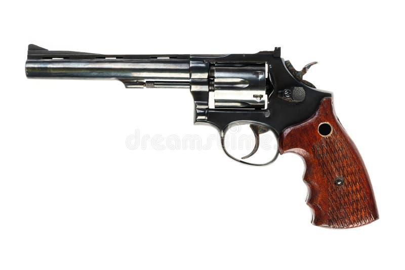 Revolver noir d'isolement sur un fond blanc photos libres de droits