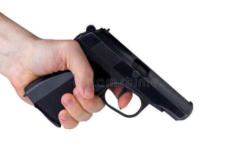 Revolver noir en main images stock