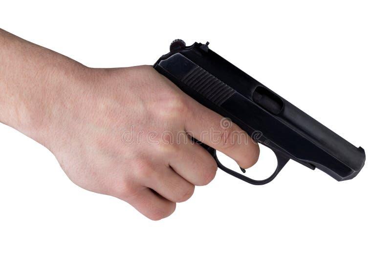 Revolver noir en main photographie stock