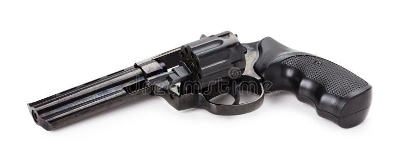Revolver noir sur le fond blanc images stock