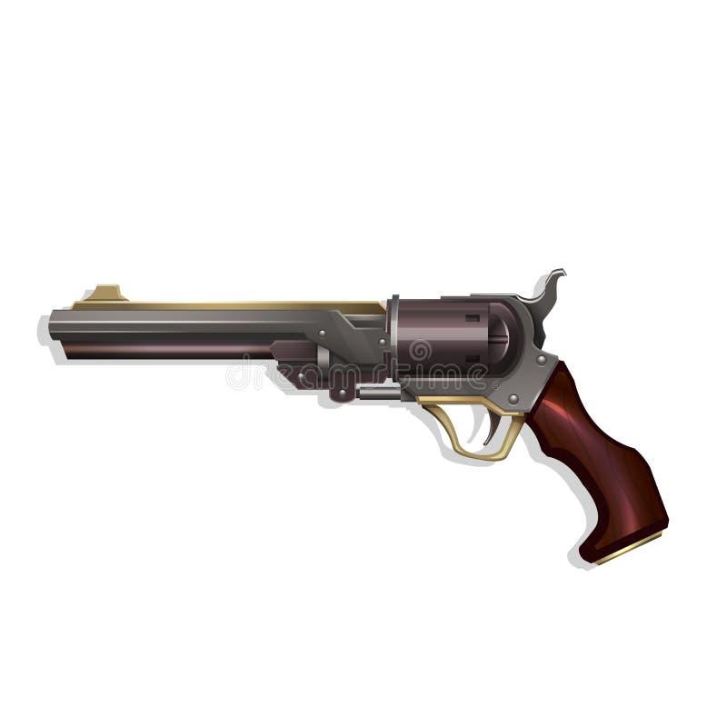 Revolver occidental sauvage d'isolement sur le fond blanc illustration stock