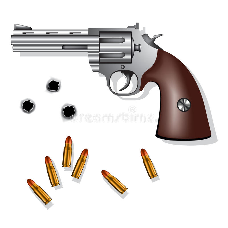 Revolver. Old revolver isolated on white background with bullets and bullet holes. Vector illustration stock illustration