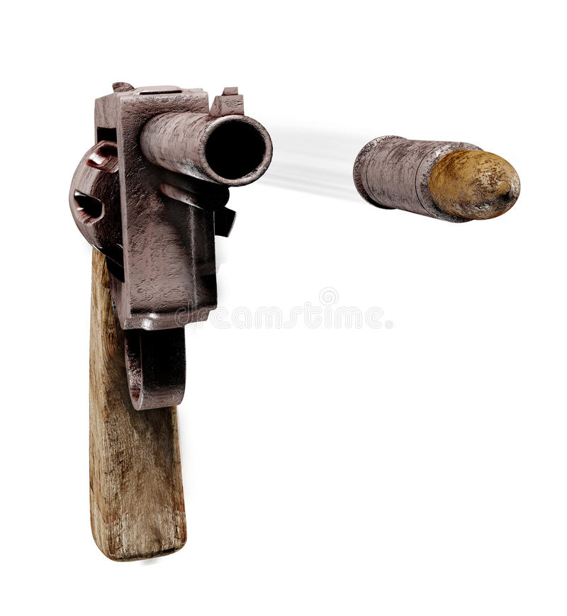 Revolver. An old style revolver on white background shooting a bullet in the direction of the viewer royalty free illustration