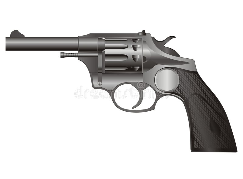 Download Revolver pistol 3 stock vector. Image of isolated, aiming - 7499372