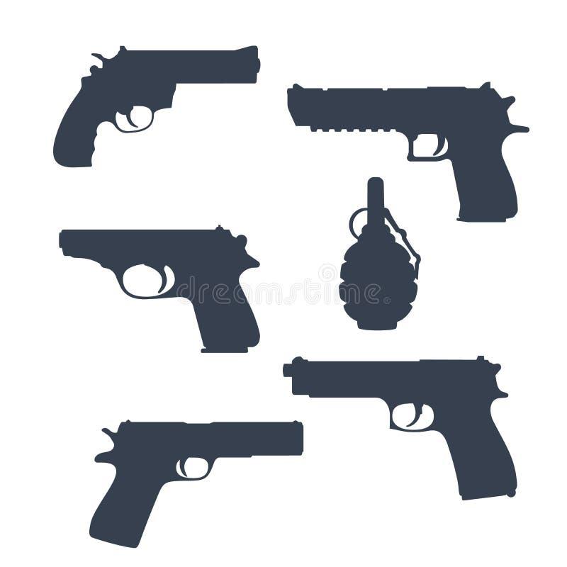 Revolver pistoler, vapen, granatkonturer vektor illustrationer