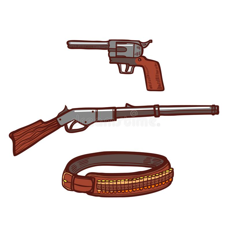 Revolver Rifle and Cartridge Belt in Hand-Drawn Style vector illustration