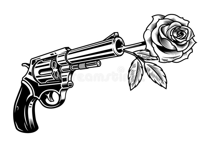 Revolver with rose. Isolated on white in monochrome style. Vector colourful illustration royalty free illustration