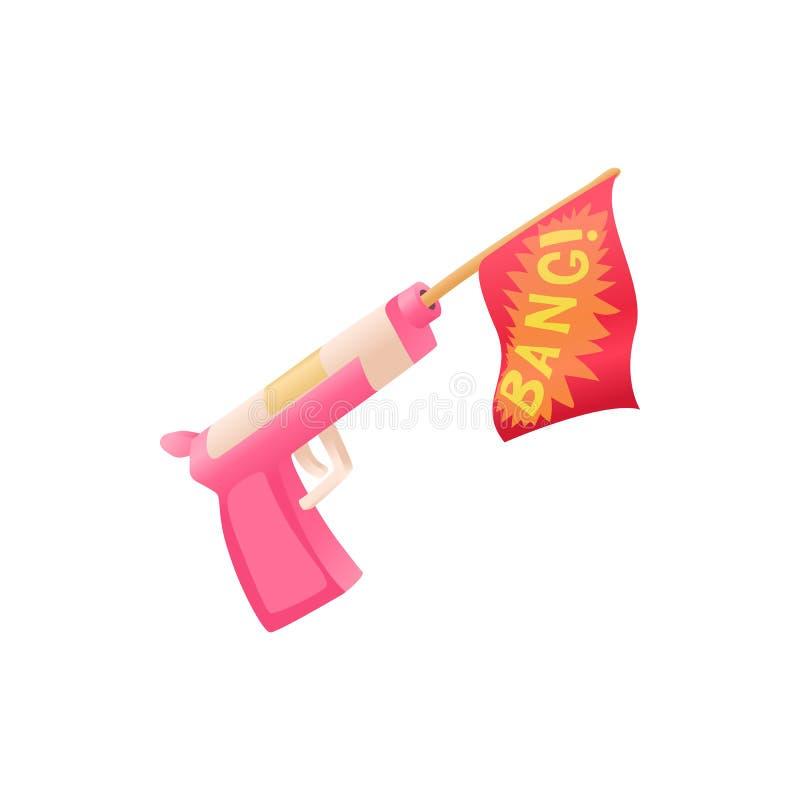 Shooting Toy Gun Pistol With Bang Flag Vector Icon Stock Vector