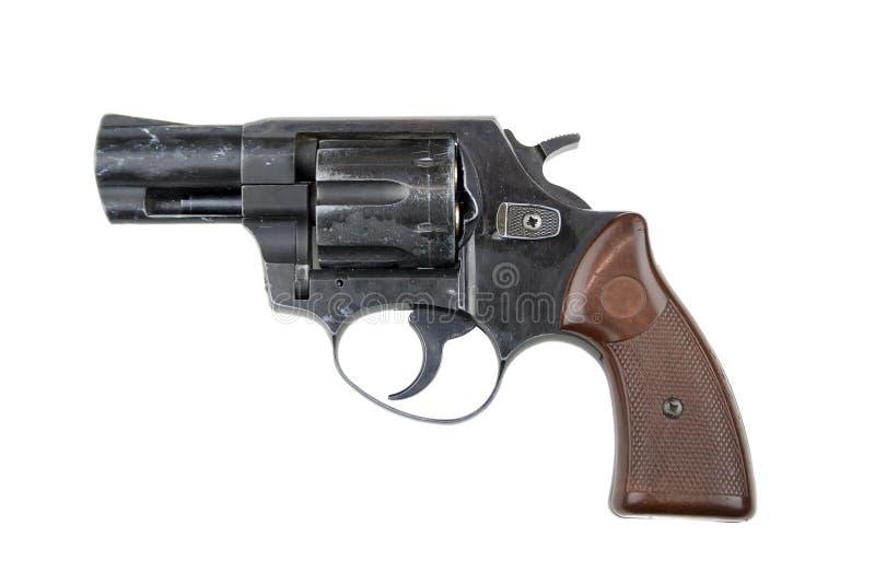 Revolver som isoleras p? vit bakgrund royaltyfri foto