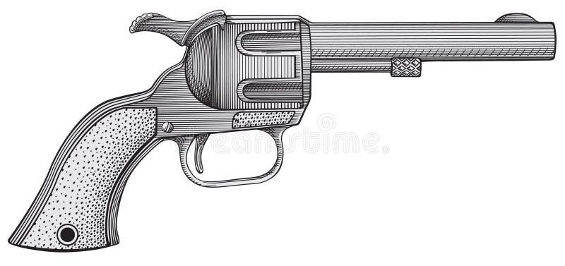 Revolver vector. Vector engraving illustration of revolver royalty free illustration