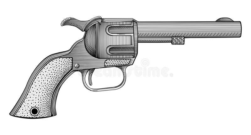 Revolver vector. Vector engraving illustration of revolver stock illustration