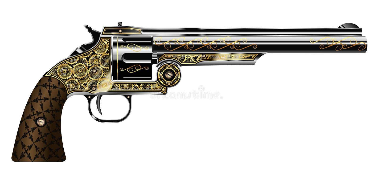 Revolver. Vector illustration of a revolver, engraved in the steampunk style isolated on white background stock illustration