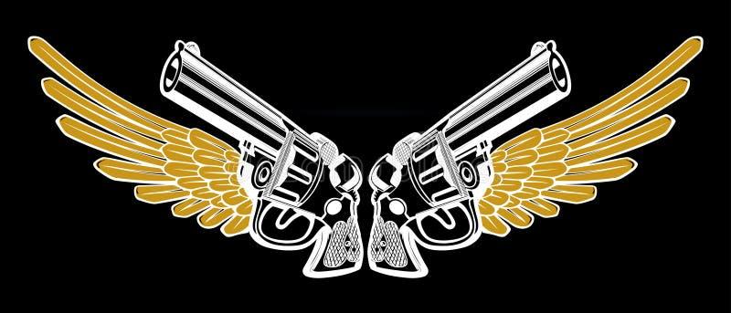 Revolver wing black. Revolver with wing emblem in black stock illustration