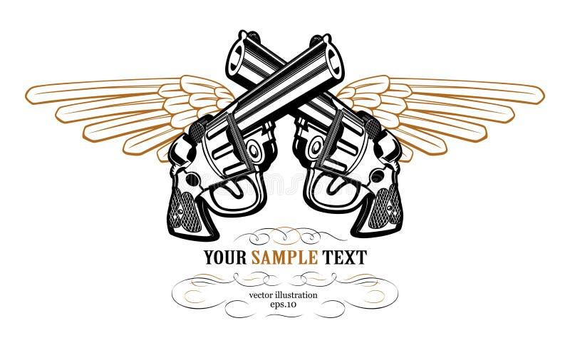 Revolver wing icon. Revolver wing emblem in vector illustration