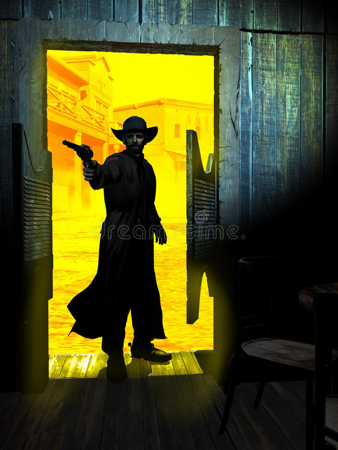 Revolverman som skriver in i salongen vektor illustrationer
