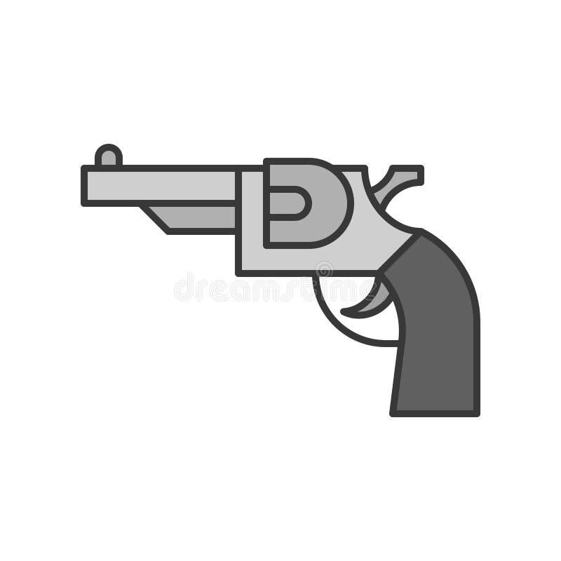 Revolverpistole, editable Anschlag der in Verbindung stehenden Ikone der Polizei stock abbildung