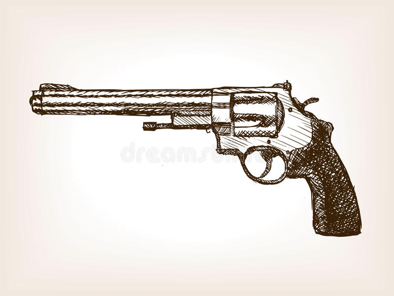 Revolverpistolen skissar stilvektorillustrationen vektor illustrationer