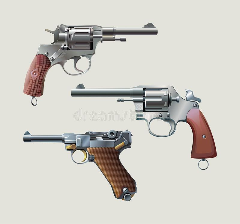 Revolvers and automatic pistol