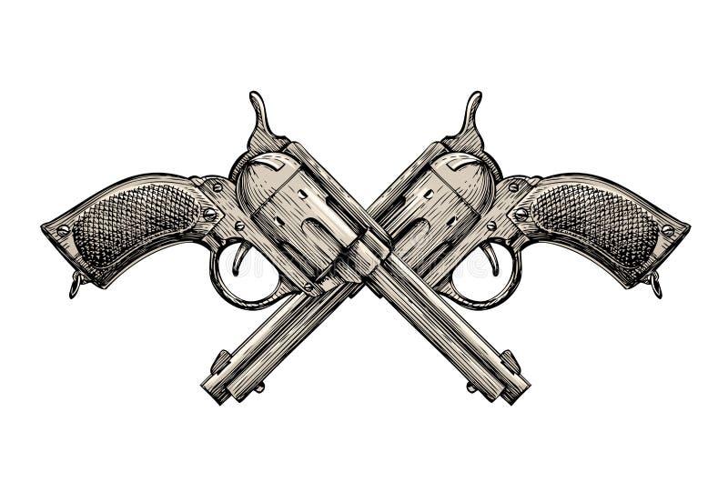 Revolvers croisés Le vintage lance tiré par la main Arme à feu, illustration d'armes à feu illustration libre de droits