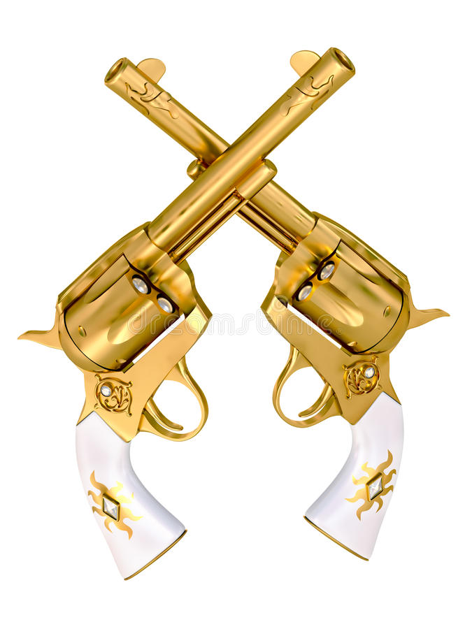 revolvers d'or illustration de vecteur