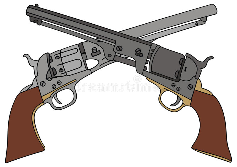 Download Revolvers stock vector. Image of veteran, sheriff, colt - 34255187