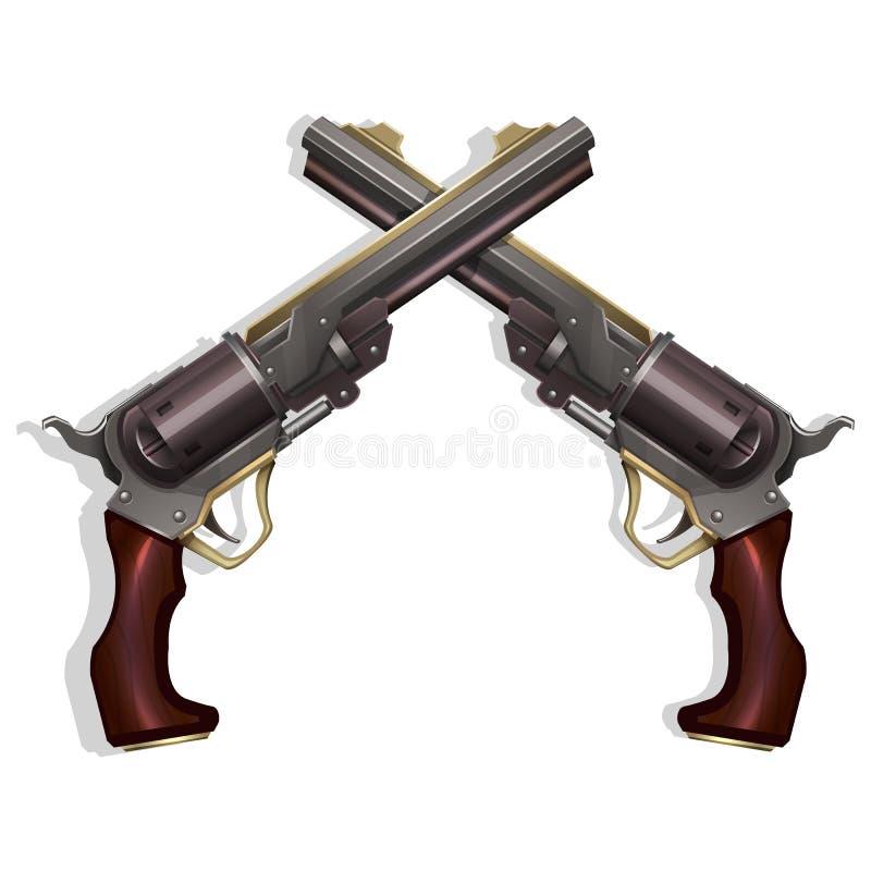 Revolvers occidentaux sauvages croisés d'isolement sur le fond blanc illustration stock