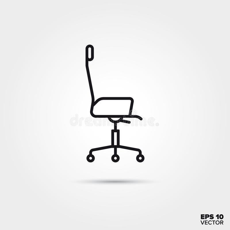 Revolving chair vector line icon stock illustration
