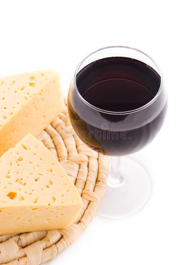 Rew wine glass and cheese on sennit