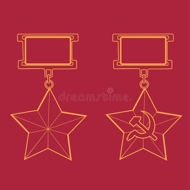Free Reward Hero Of The Soviet Union And Hammer And Sickle Medal On A Red Background Outline Silhouette Stock Photography - 145913962
