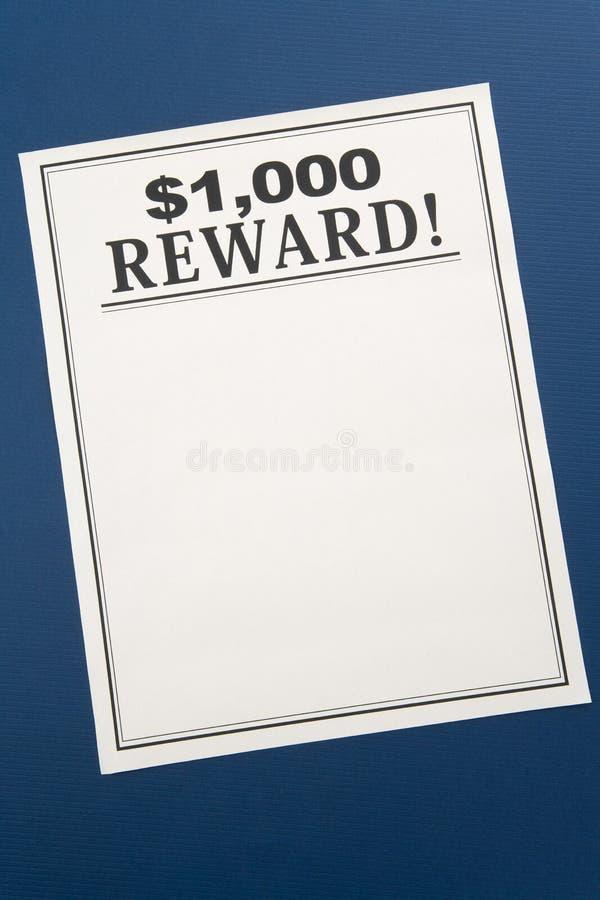 Reward poster stock image