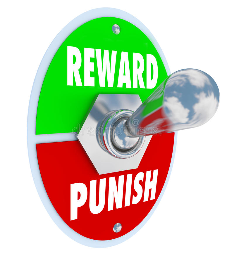 Reward Vs Punish Toggle Switch Lever Discipline Lesson. Reward and Punish words on a toggle switch or lever to illustrate disciplining a child, student or worker vector illustration