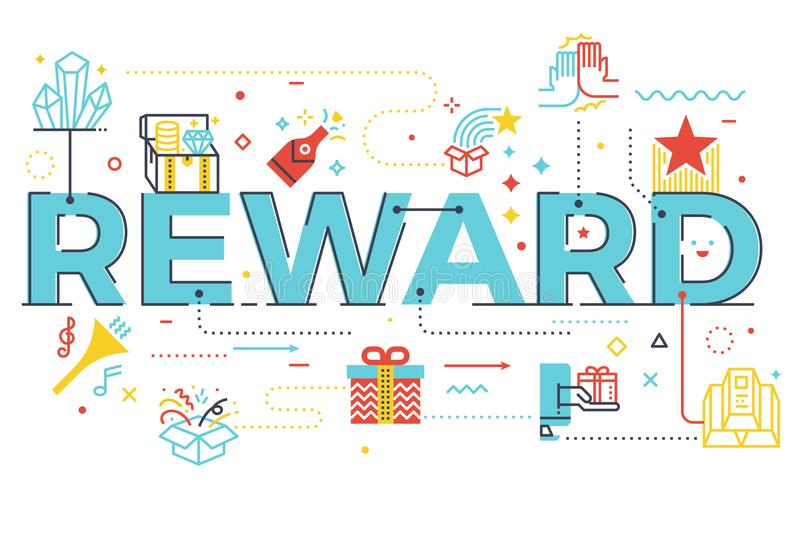 Reward word lettering illustration. With icons for web banner, flyer, landing page, article, etc vector illustration