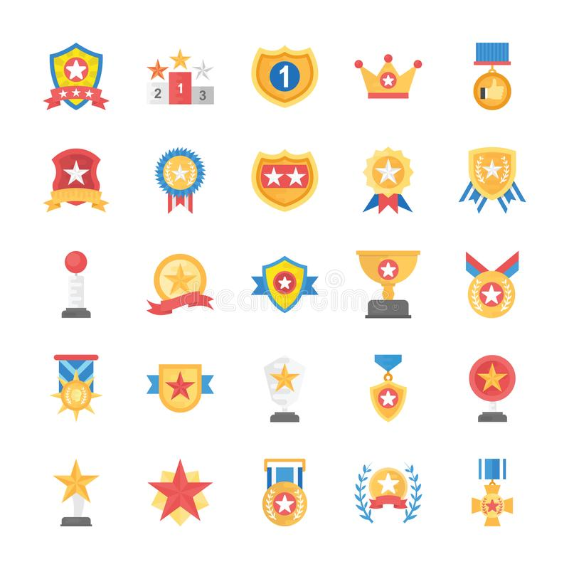 Rewards and Medals Flat Icons Set. This flat icons set has handsome collection of appreciation badges, certificates and rewards which can help you get royalty free illustration