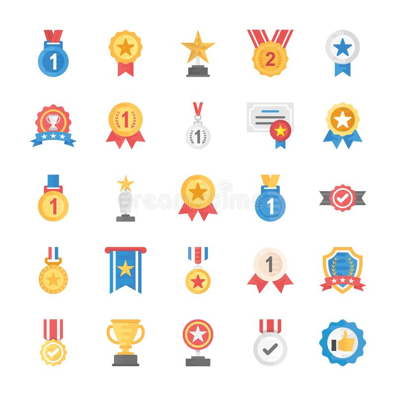 Rewards And Medals Flat Icons. This flat icons set has handsome collection of appreciation badges, certificates and rewards which can help you get appreciated royalty free illustration