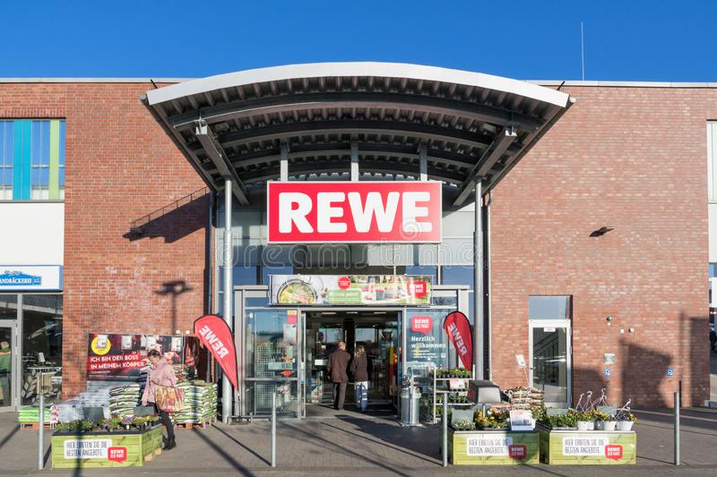 REWE branch in Kaltenkirchen, Germany. REWE branch. REWE operates approximately 3,300 supermarkets in Germany stock image