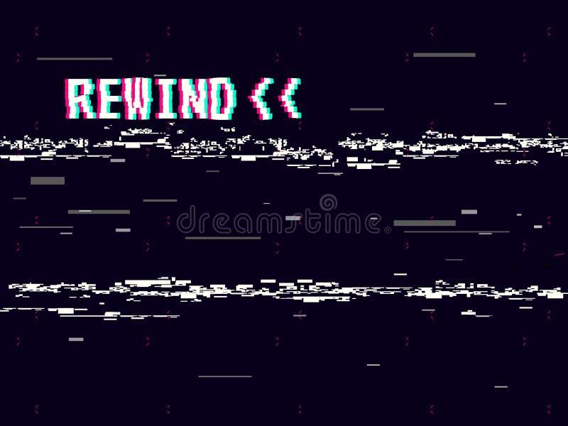 Rewind glitch background. Retro VHS template for design. Glitched lines noise. Pixel art 8 bit style. Vector. Illustration vector illustration