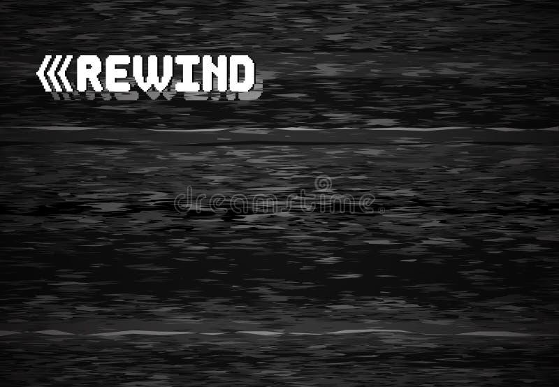 Rewind glitch screen. Retro television glitched vhs defect, glitches rewinds noise graphic vector background. Rewind glitch screen. Retro television glitched vhs stock illustration