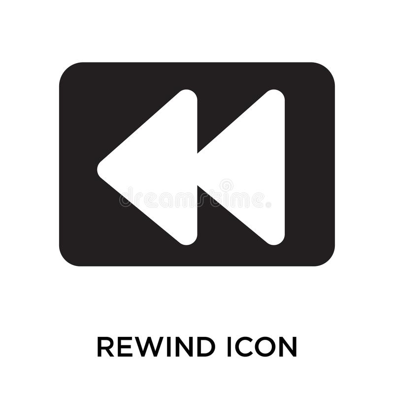 Rewind icon vector sign and symbol isolated on white background, Rewind logo concept royalty free illustration