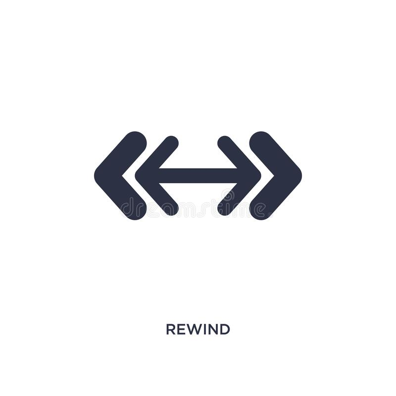 rewind icon on white background. Simple element illustration from arrows 2 concept vector illustration