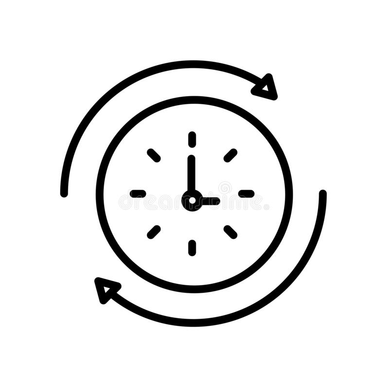Rewind time icon isolated on white background royalty free illustration