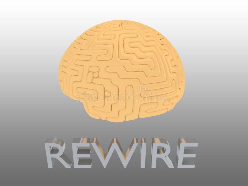 REWIRE - installation concept. 3D illustration of REWIRE script under a human brain, building, cable, circuit, connect, connection, connections, connector vector illustration